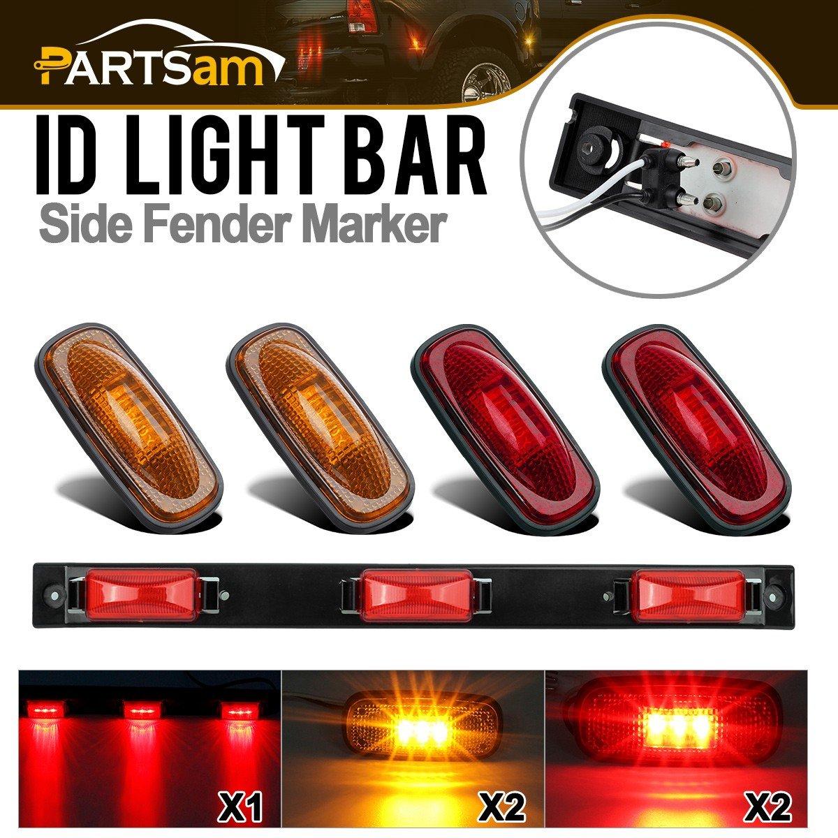 Partsam Set Red 3-Light Led ID Bar Light & LED Fender Bed Side Marker Lights (Amber Red) For 2003-2010 Dodge Ram 1500 2500 3500 Pickup & 2011-2014 ram 1500 2500 3500 4333262687