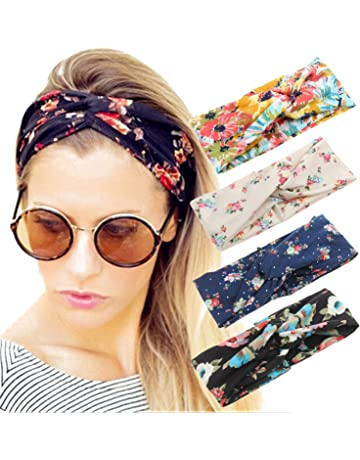e7b7ece426b9 4 Pack Women Headband Boho Floal Style Criss Cross Head Wrap Hair Band