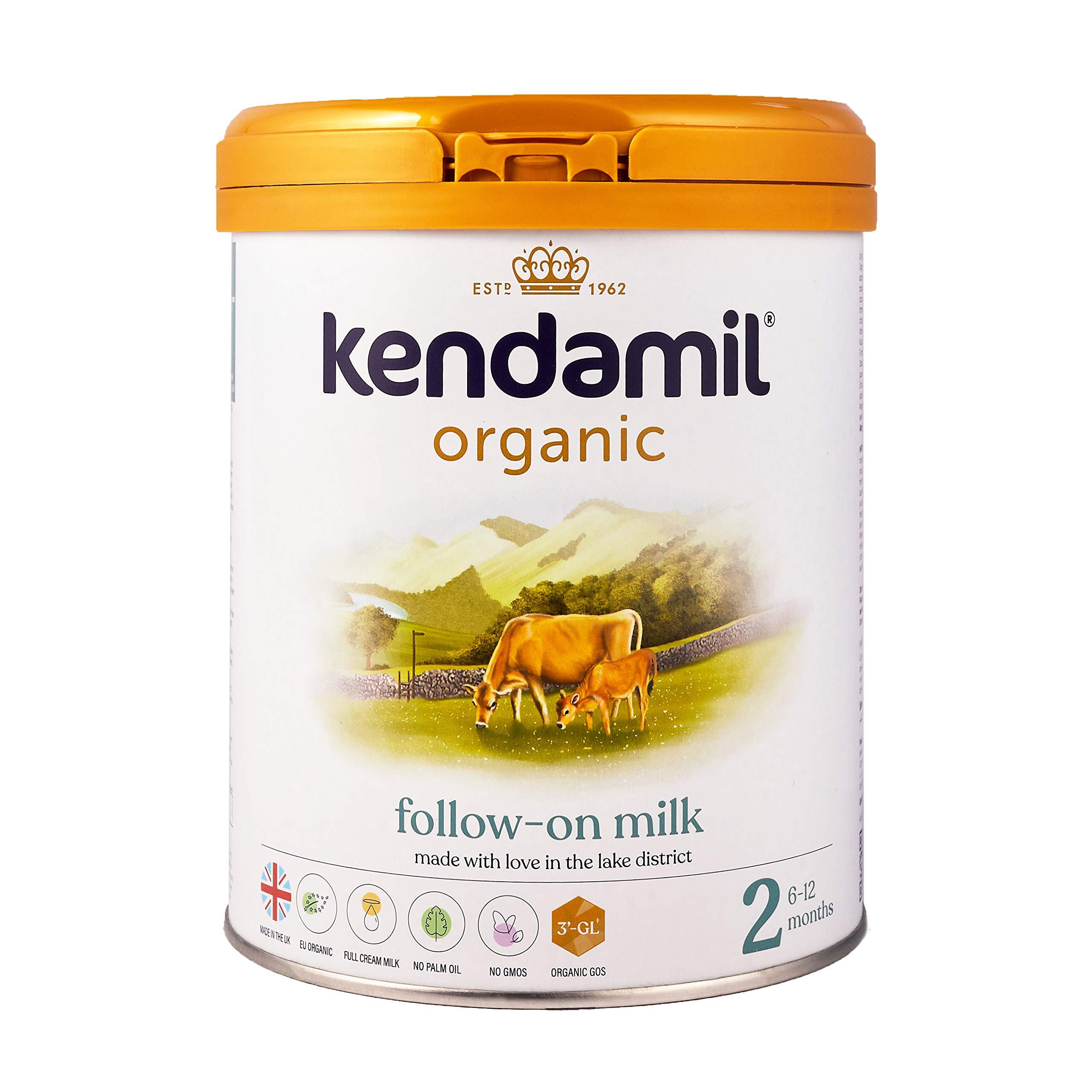(2x800g) Kendamil Organic Follow On Milk, Stage 2 – British Made, Organic Whole Milk Formula – with HMOs, No Palm Oil, No Fish Oil, No SOYA, No GMOs
