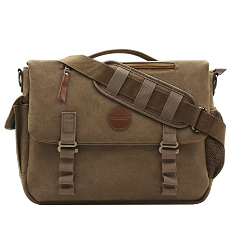 MOSISO Canvas Messenger Bag (up to 15 6 Inch) with Handle and Various  Pockets Compatible Laptop, Notebook, MacBook, Ultrabook and Chromebook
