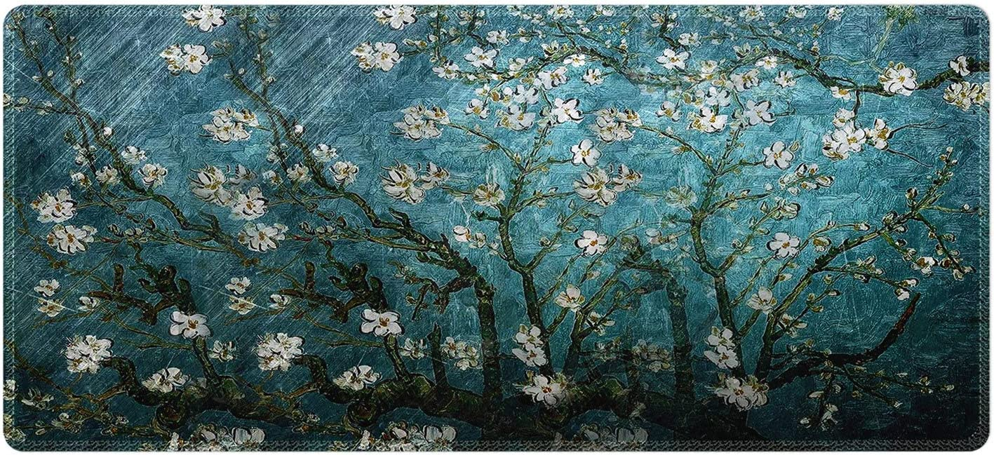 Meffort Inc Extra Large Extended Gaming Desk Mat Non-Slip Rubber Pads Stitched Edges Mouse Pad 35.4 x 15.7 inch - Vincent Van Gogh Almond Blossom