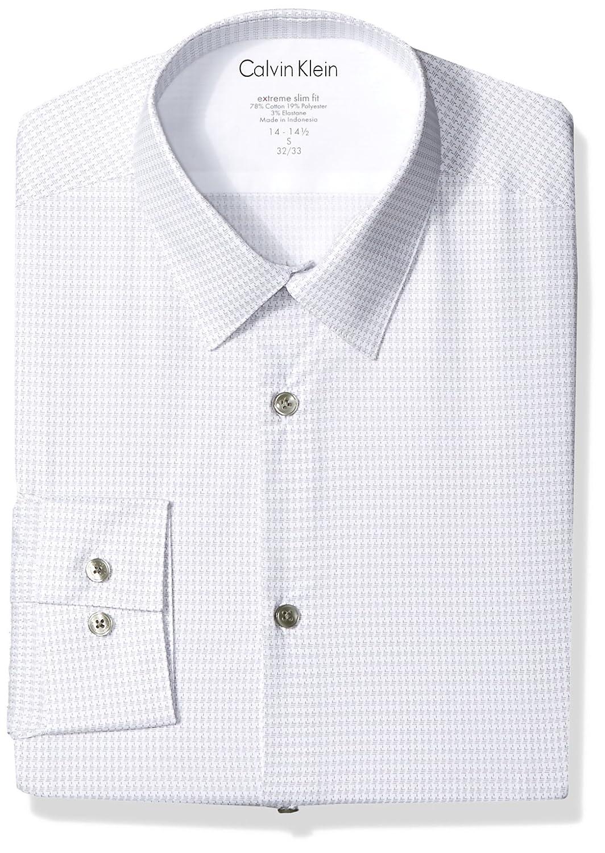 Calvin Klein Mens Thermal Stretch Xtreme Slim Fit Print Dress Shirt