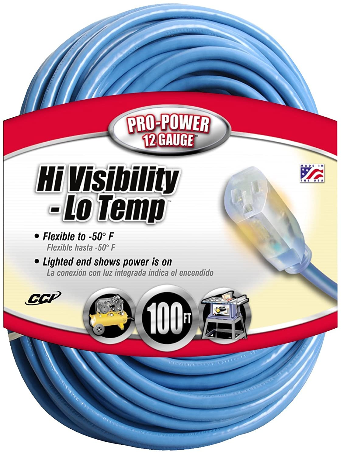 Coleman Cable 02569 12/3 100-Foot Hi-Visibility/Low-Temperature Outdoor Extension Cord 25690006