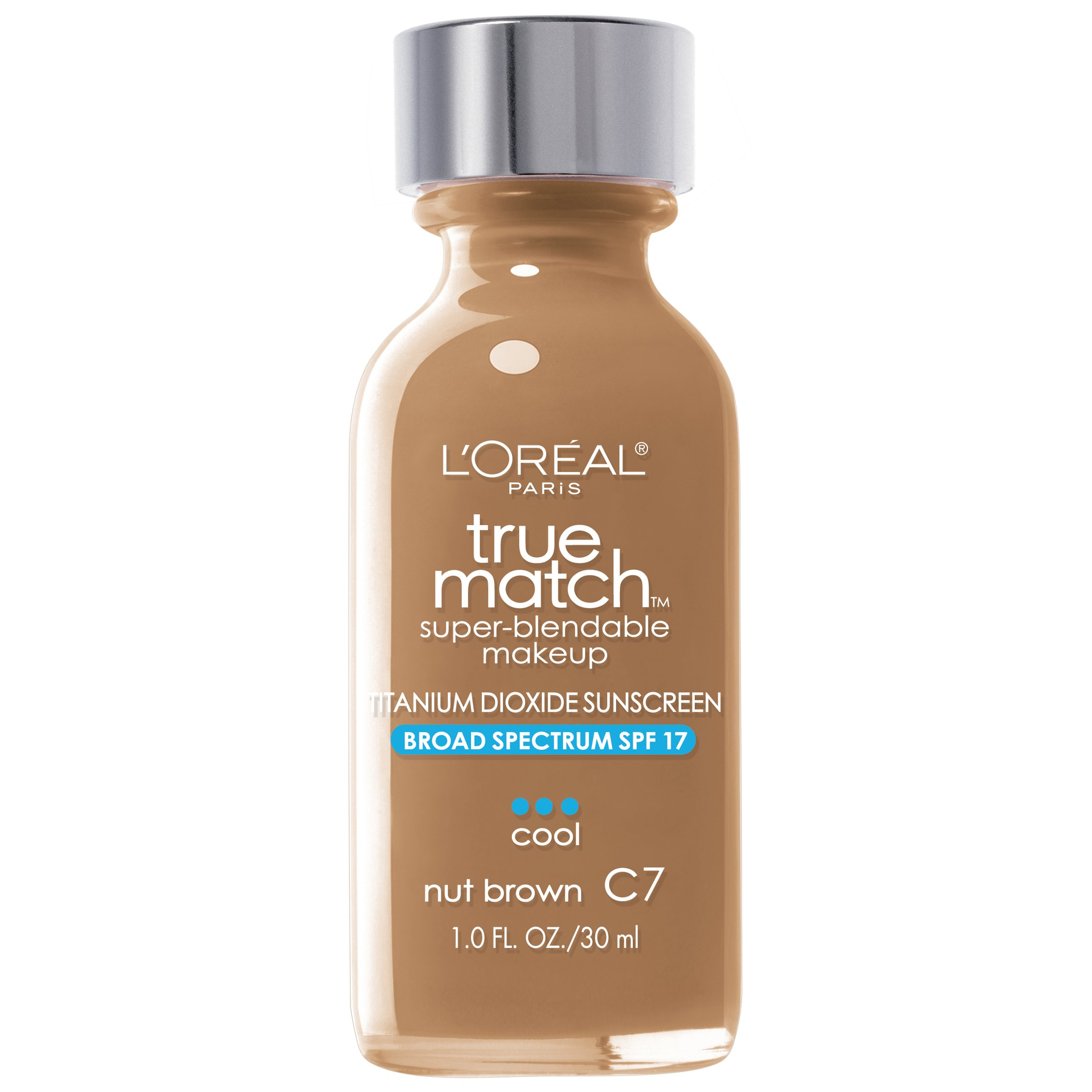 L'Oreal Paris Makeup True Match Super-Blendable Liquid Foundation, Nut Brown C7, 1 Fl Oz,1 Count
