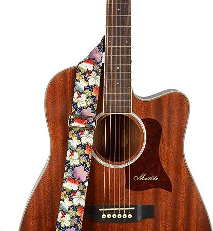 BestSounds ギターストラップ 和風 かわいい 布+ポリ+綿の混合素材 アコスティックギターエレキ ベース用 ストラップロック&ボタンホルダー付き滑り止め ストラップ外れ対策 アコギ エレキ ベース用(お花/カラフル)