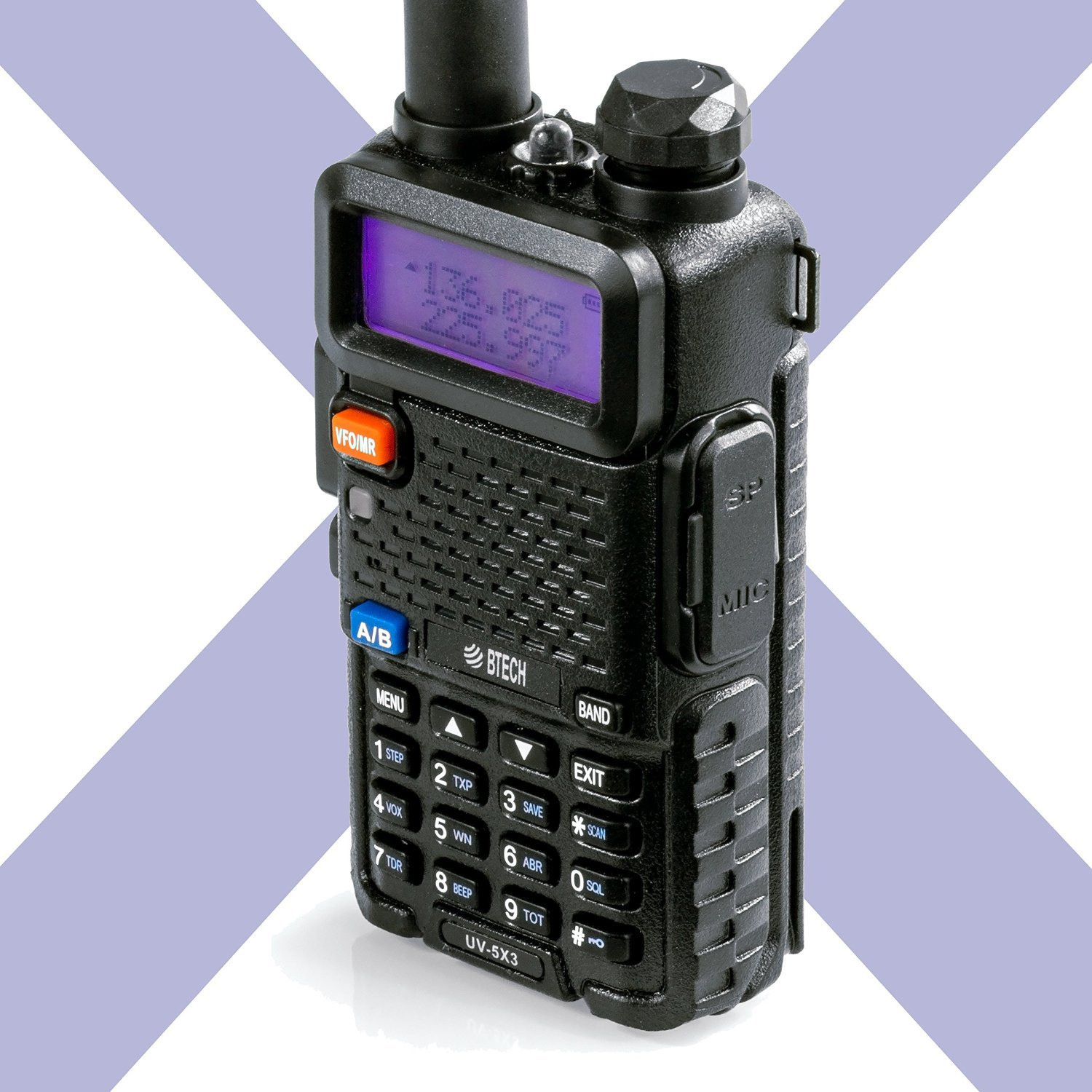 BTECH UV-5X3 5 Watt Tri-Band Radio VHF, 1.25M, UHF, Amateur (Ham), Includes Dual Band Antenna, 220 Antenna, Earpiece, Charger, and More by BTECH