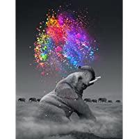 "Artoree DIY 5D Diamond Painting by Number Kit for Adult, Full Drill Diamond Embroidery Dotz Kit Home Wall Decor-14x20"" Elephant"