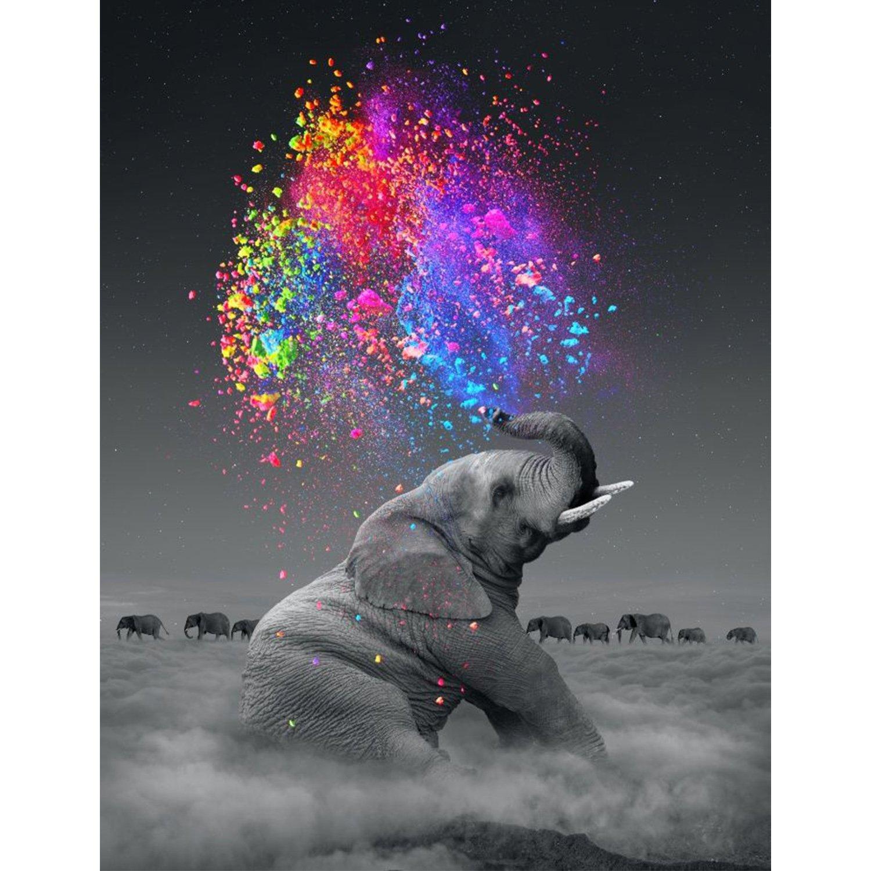 5d Pintura Por Diamantes (4722) Elefante - 35 X 50 Cm