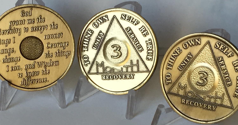 wendells Set of 3 AA 3 Month 90 Day Bronze Anniversary Sobriety Medallions Serenity Prayer