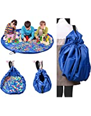 NOTAG Toys Storage Toy Organizer Bag Floor Activity Mat,Portable Container For Storing Kids Toys,Children Designer Multi-purpose Fast Collection Playbag Can Turn Into A Shoulder Bag (Blue)