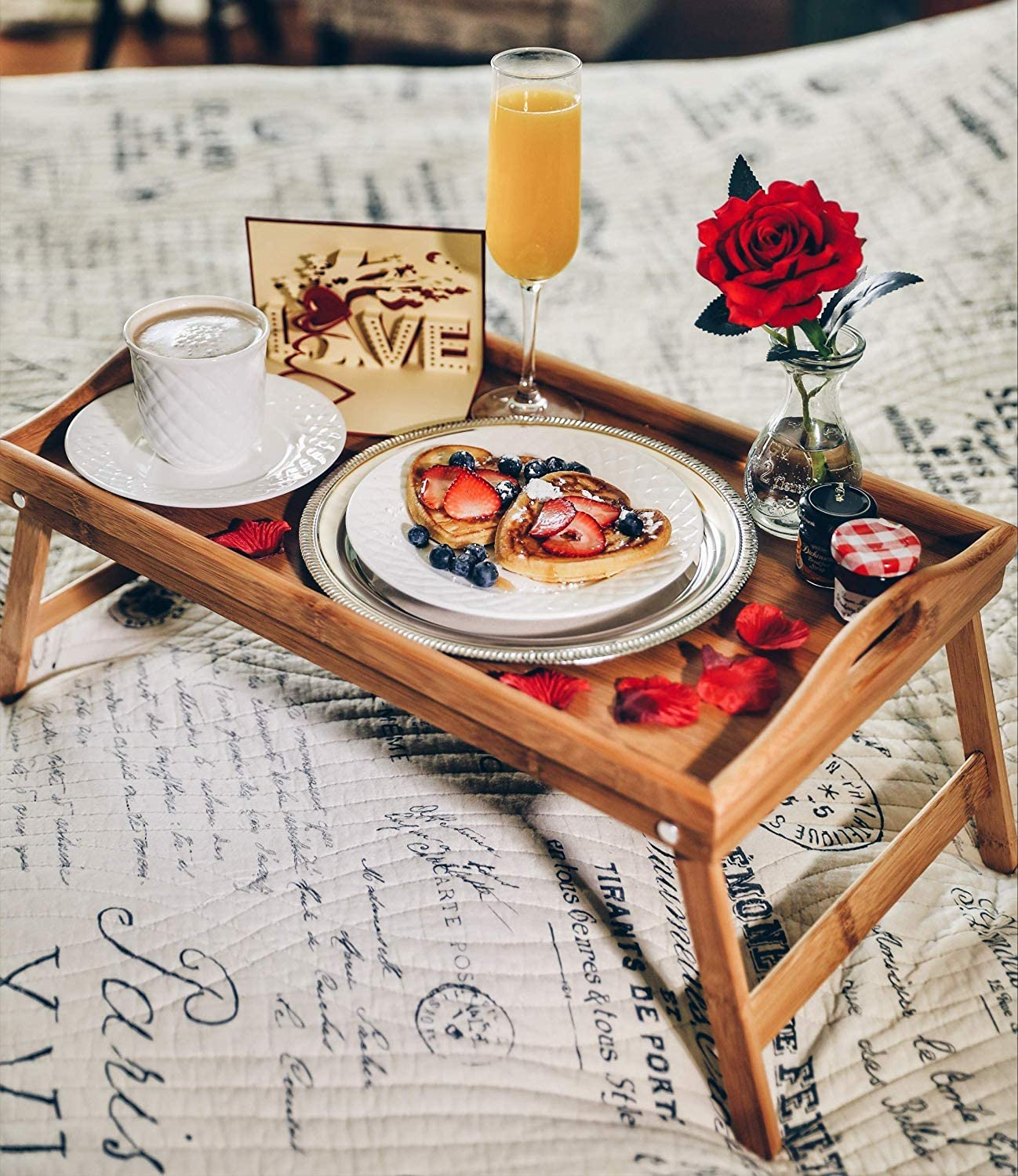 Breakfast in Bed Romance-in-a-Box   Romantic Romantic Wedding Birthday Gifts Basket with Breakfast Tray Table and Rose Petals