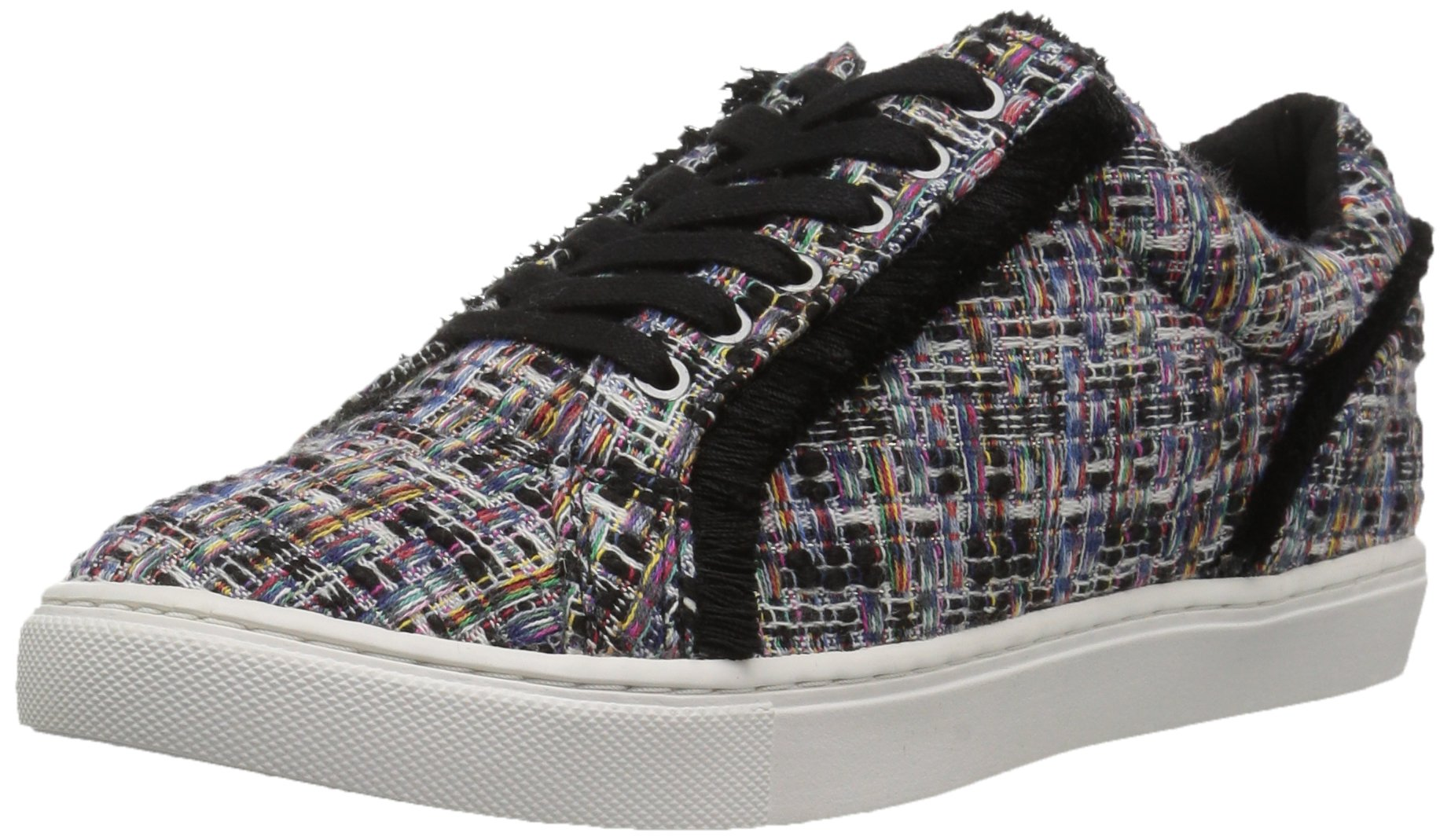The Fix Women's Tinsley Frayed Silk Lace-up Sneaker, Black Multi, 6 B US