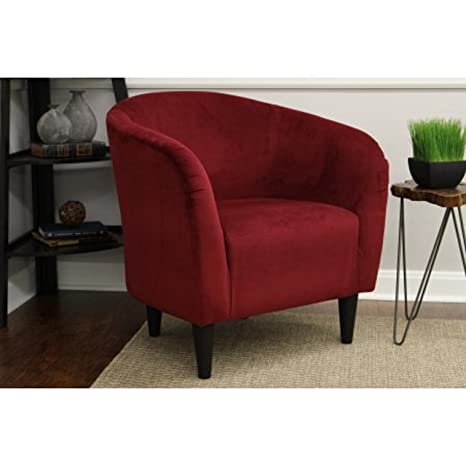 Enjoyable Mainstays Microfiber Tub Accent Chair Microfiber Berry Red Ncnpc Chair Design For Home Ncnpcorg