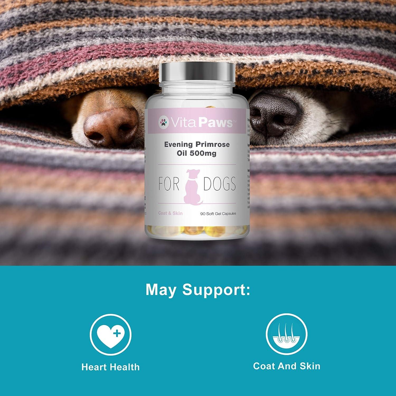 Aceite de Onagra 500mg para perros - 90 perlas - Para la salud del corazón y la circulación - Para la salud de la piel y el pelaje.