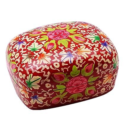 Cachemira de papel cartón piedra pintado a mano floral cajas de recuerdo regalo de la joyería: Amazon.es: Hogar