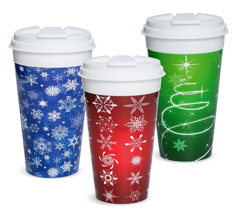 Set of 3 Easy Traveler Holiday Collection Insulated Travel Mug 16 Oz.