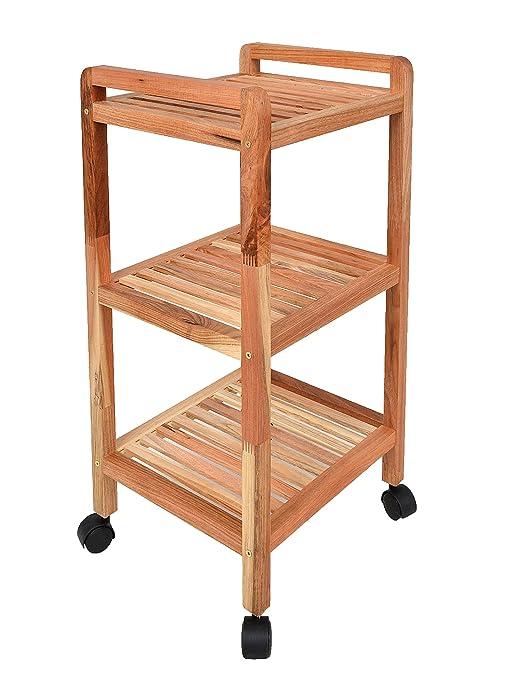 ts-ideen Estantería con ruedas, altura de 77 cm, de madera maciza de