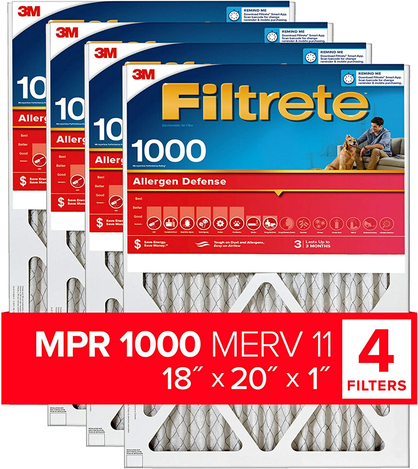 Nordic Pure 16x16x1 MPR 1900 Maximum Allergen Reduction Replacement AC Furnace Air Filters 12 Pack