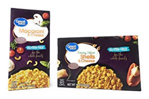 Great Value Gluten-Free Macaroni & Cheese 6oz (170g) Bundle With Creamy Deluxe Shells & Cheese Bundle 12oz (340g)