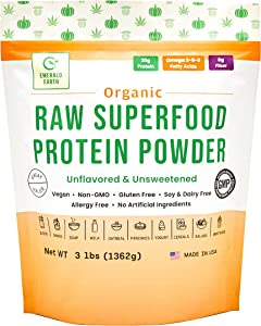 Emerald Earth Certified Organic Raw Superfood Plant Protein Powder- 3lb - Unflavored - 20G Protein per Serving - Cold Pressed - Vegan - No Added Sugars - Soy Free, Dairy Free & Gluten Free - Non-GMO