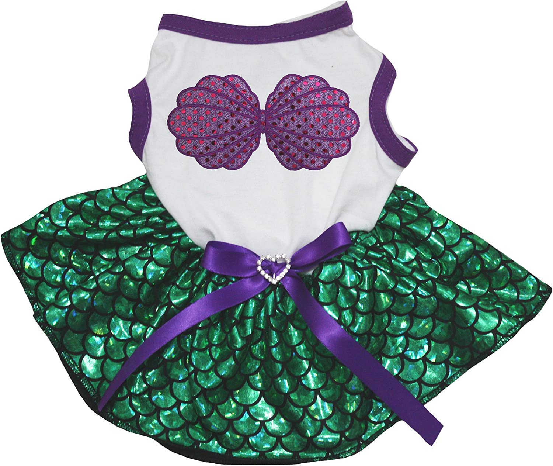 Petitebella Purple Shell White Shirt Green Mermaid Tutu Puppy Dog Dress
