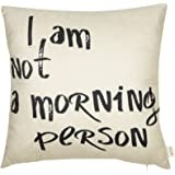 """Fjfz I Am Not a Morning Person Funny Quote Cotton Linen Home Decorative Throw Pillow Case Cushion Cover with Words for Sofa Couch, Black, 18"""" x 18"""""""