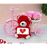 TIED RIBBONS Valentine Day Surprise Gifts for Girlfriend, Boyfriend, Wife, Husband Gift Pack(Cycle Basket with Faux Rose, Small Teddy and Placard Card)