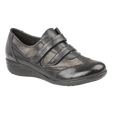 Boulevard Damen Komfort-Schuhe mit Klettverschluss, Gepolstert (41 EU) (Schwarz/Zinn)