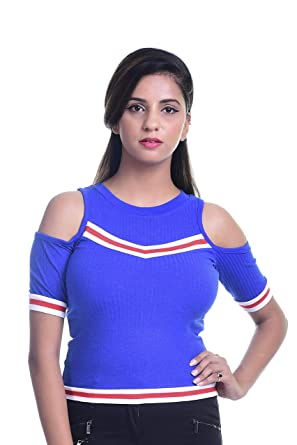 d20b182104bb5 Timbre Stylish Women Casual Royal Blue Cotton Cold Shoulder Tops (X-Small)