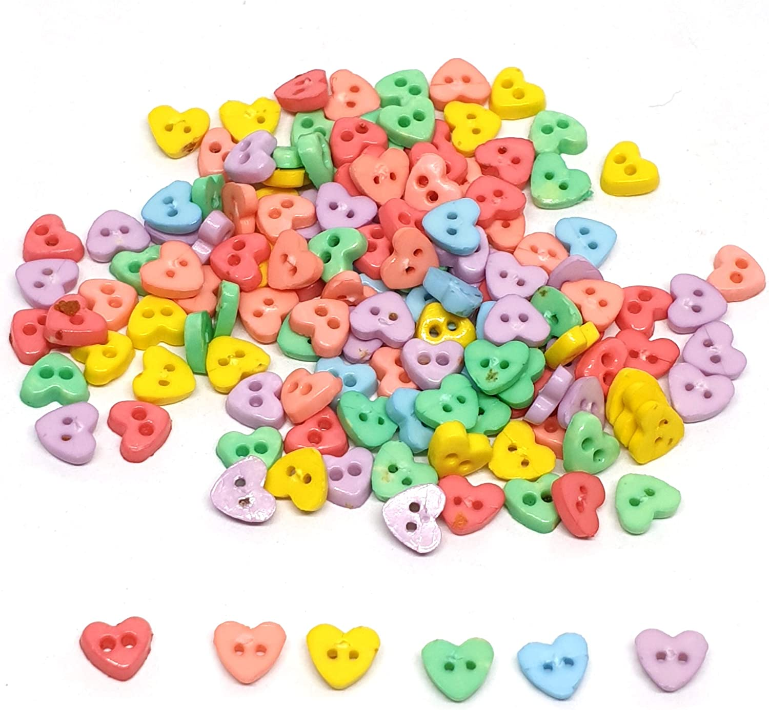 10 25 Or 50 Mixed Pastel Coloured Wood Heart Buttons 20mm