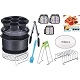 CAXXA 15 PCS 8 Inch XL Air Fryer Accessories, Deep Fryer Accessories with Recipe Cookbook Compatible with Growise…