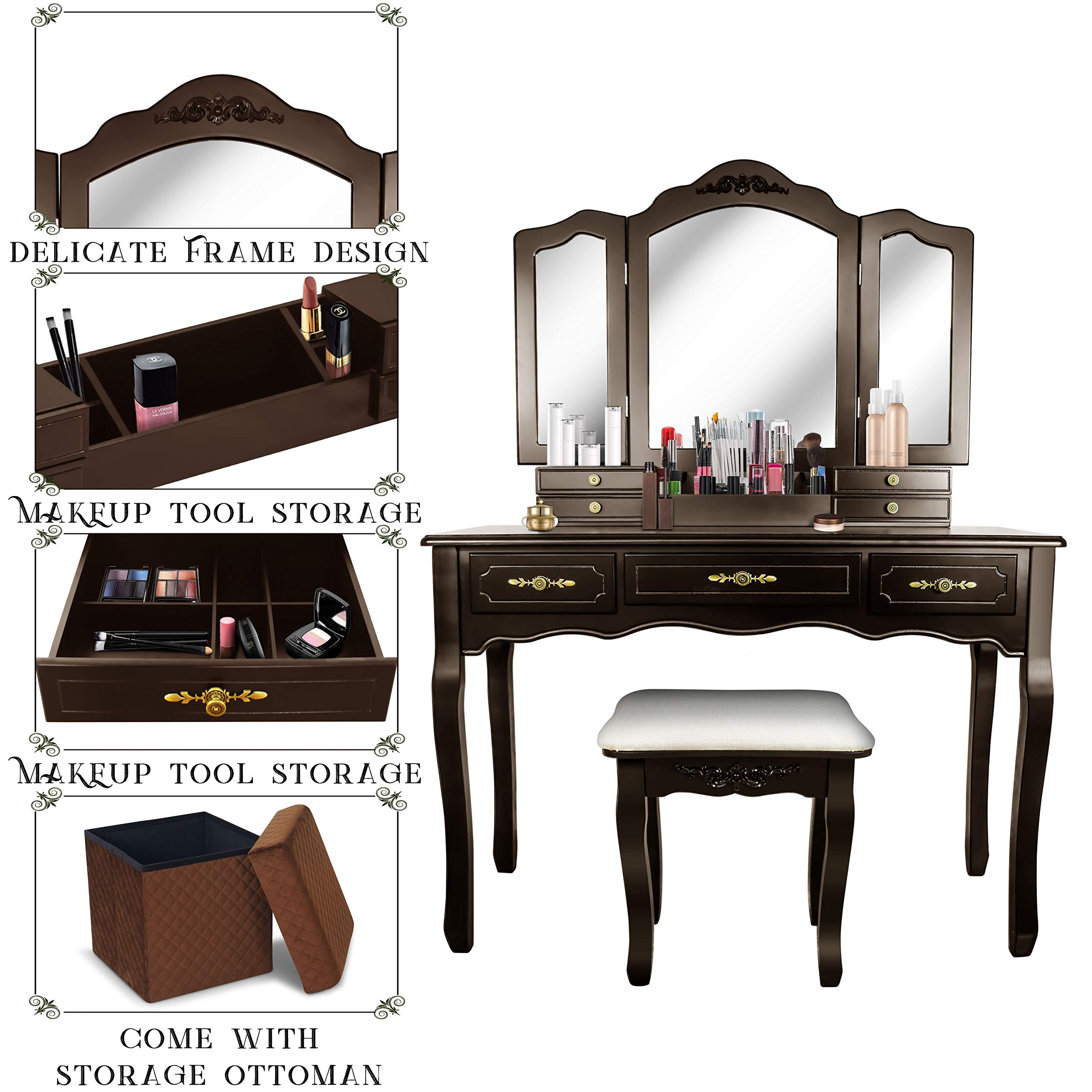 Vanity Beauty Station,Tri-Folding Necklace Hooked Mirrors,6 Organization 7 Drawers Makeup Dress Table with Cushioned Stool and Storage Ottoman-Espresso
