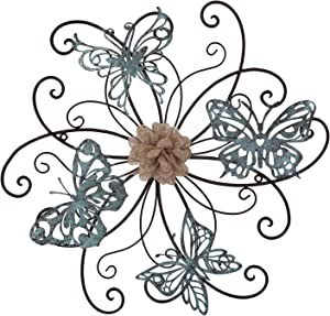 Home's Art Flower and Butterfly Urban Design Metal Wall Decor for Nature Decoration & Kitchen Gifts