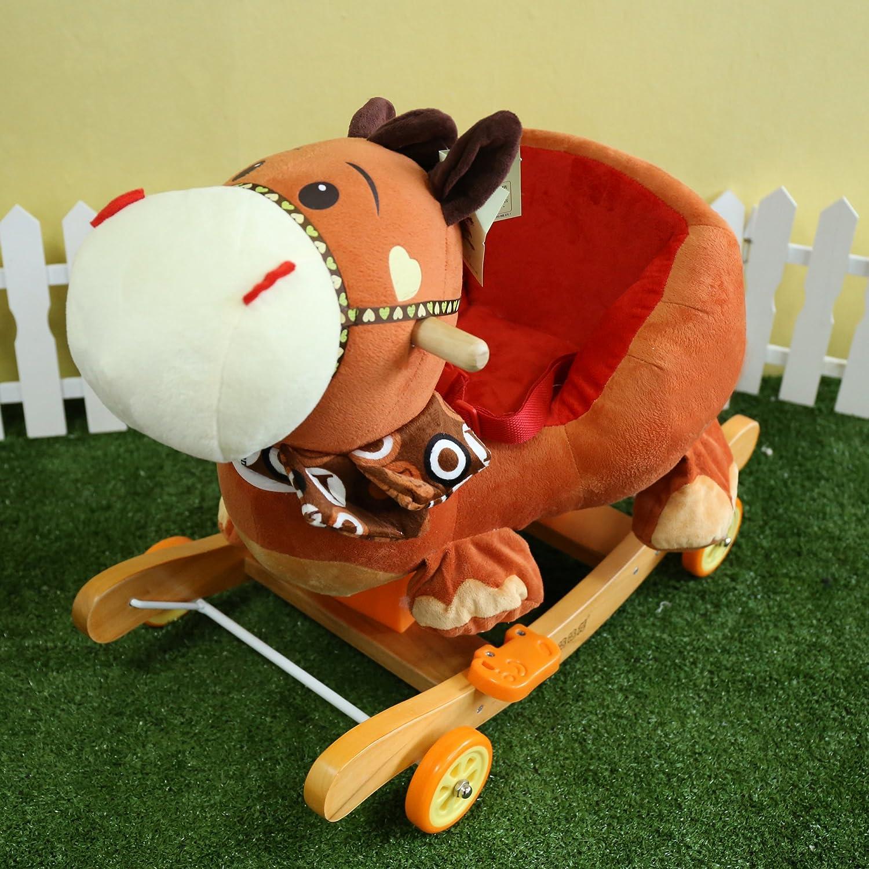 VERCART Chaise à Bascule Cheval ou Poussette Animal avec Dossier et Accoudoir Double Usage Cadeau pour Bébé Enfant Brun