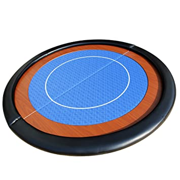 EBS® Compact Folding Round Poker Table Top In Blue Speed Cloth   120cm