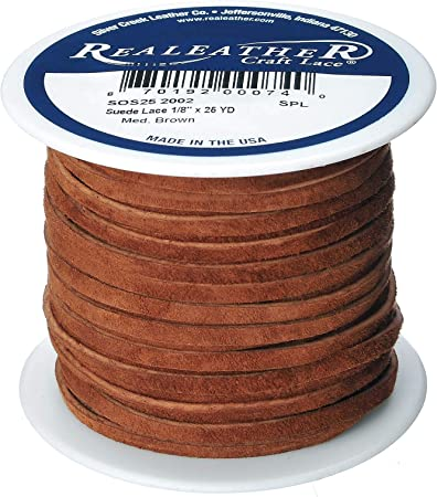 """by Silver Creek Realeather Made USA Suede Lace Medium Brown 1//8/"""" x 25 yds"""