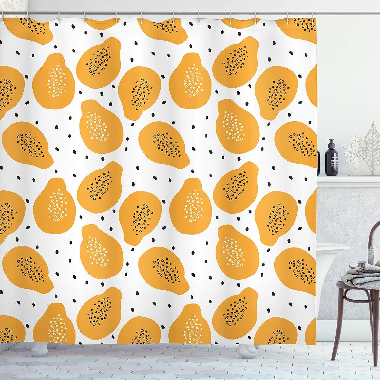 ABAKUHAUS Naranja del Verano Cortina de Baño, Las Semillas de Papaya y Arte, Material Resistente al Agua Durable Estampa Digital, 175 x 180 cm, Anaranjado pálido Negro