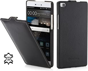 Stilgut Ultraslim Case, Custodia in Pelle per Huawei P8, Nero