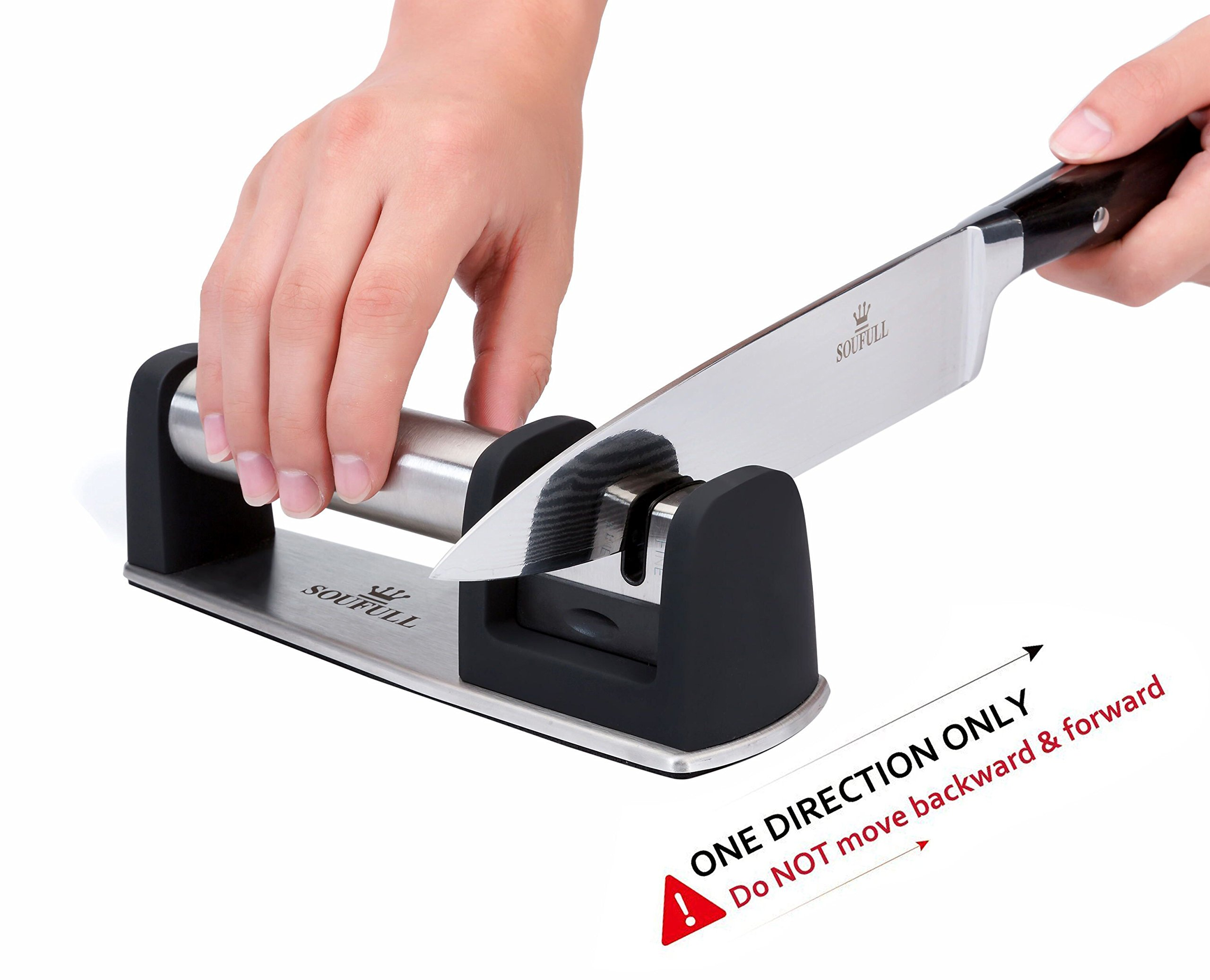 Professional Knife Sharpener- Soufull 2 Stage Diamond Coated Sharpening with Ceramic Rod - Non-slip Base Sharpening Knife Easy to Control -Knife Sharpening by Soufull (Image #5)