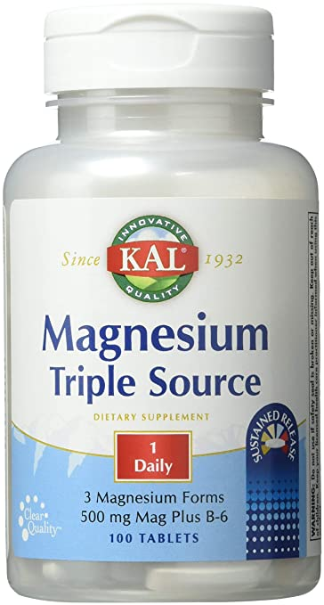 Kal 500 Mg Magnesium Triple Source Tablets, 100 Count