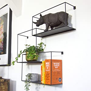 Set of 3 Metal Intersecting Floating Shelves, Decorative Large Square Wall Mounted Shelf, Free Floating Shelves, Shadow Box Style Deep Black Metal Shelving, 14, 12 and 11 Inch Long