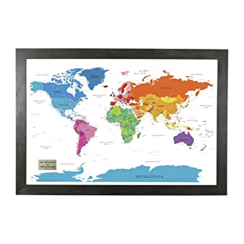Amazon personalized colorful world push pin travel map with personalized colorful world push pin travel map with rustic black frame and pins 24 x 36 gumiabroncs Image collections