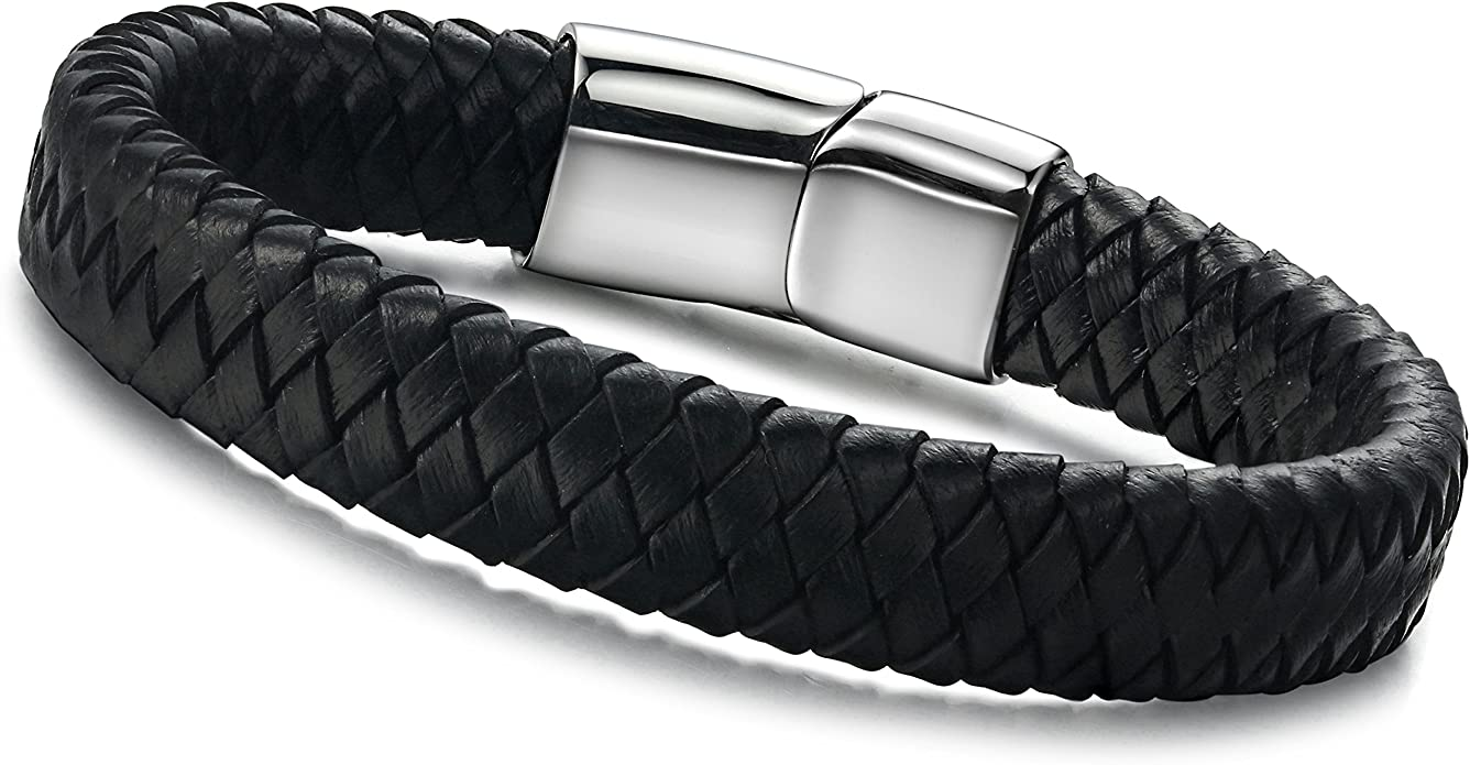 "Men Fashion Twist Black Braided Genuine Leather Magnet Bangle Hand Bracelet 8.5/"""