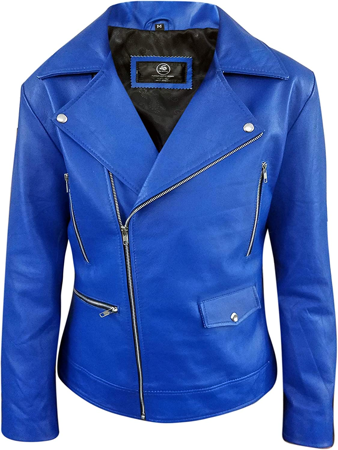 Mens Blue Leather Jacket Biker Classic Motorbike Motorcycle Vintage Perfect Leather Jacket