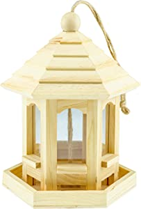 Wooden Hanging Decorative Bird Feeder House| Ideal for Outdoor Decoration, Home, Patio, Yard & Garden | Strong Wood Birdfeeder Birdhouse for Wild Birds | Gazebo