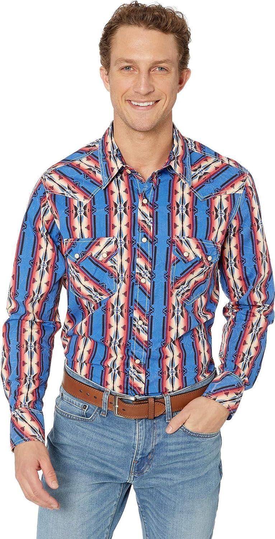 Rock and Roll Cowboy Mens Long Sleeve Print Snap B2S9122