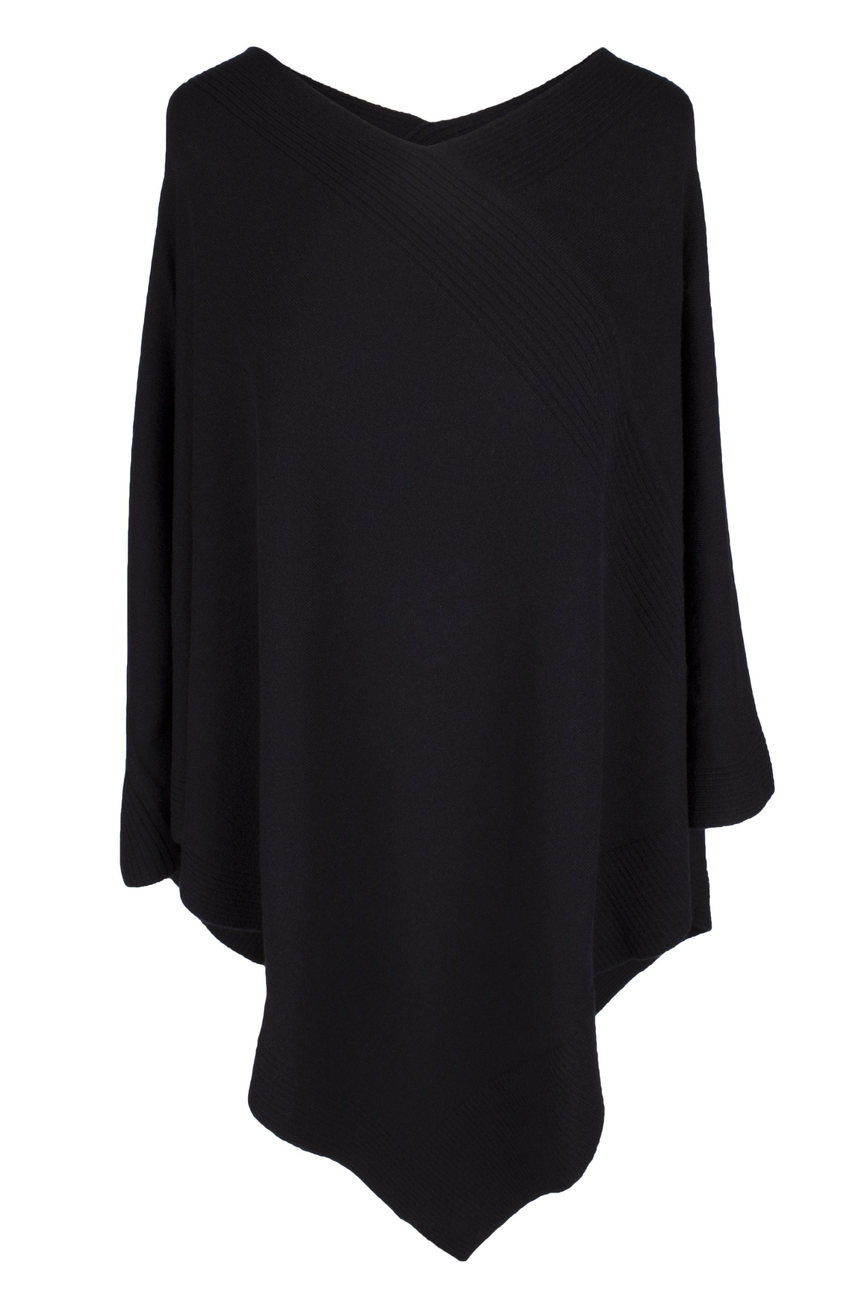 Love Cashmere Women's 100% Cashmere Poncho - Black - Made In Scotland RRP $600 by Love Cashmere (Image #1)