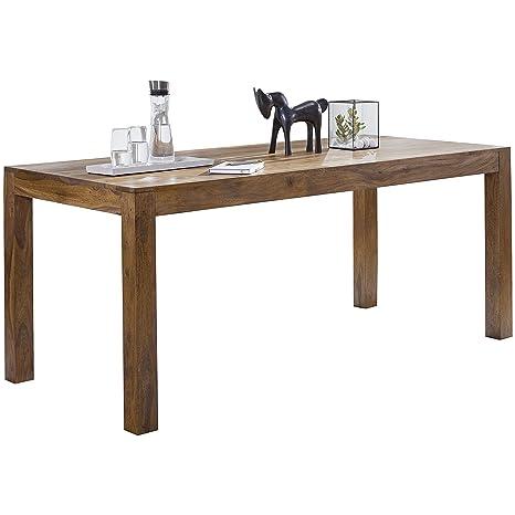 Wohnling comedor Madera Sheesham 120 x 60 x 76 cm – Mesa de comedor Mesa de cocina diseño moderno rústico estilo de madera mesa rectangular marrón ...