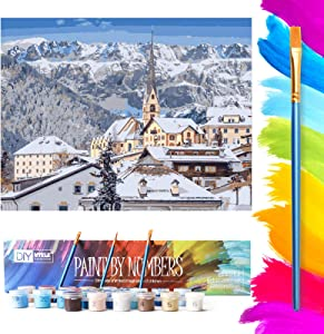 Mtele Paint by Numbers Oil Painting for Adults Beginner, Acrylic Pigment Alps Drawing Kit for Home Decor