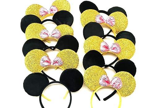 Amazon.com: Mickey y Minnie diadema 6 pcs orejas de Mickey y ...